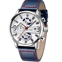 Custom high quality luxury brand Japan movement genuine leather watch chronograph steel watch men's fashion watch