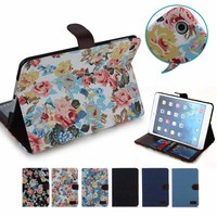 cute flower pattern flip stand leather case cover for ipad mini 1 2 3