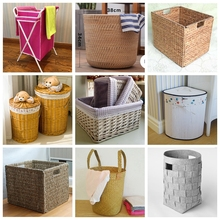 Folding woven dirty clothes willow storage seagrass laundry hamper for crafts furniture accessories