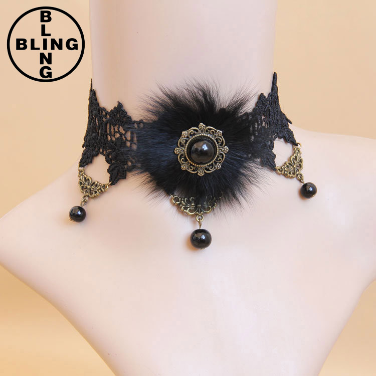 New design antique black lace choker necklace pearl pendant plumb necklace for women bride wedding party jewelry