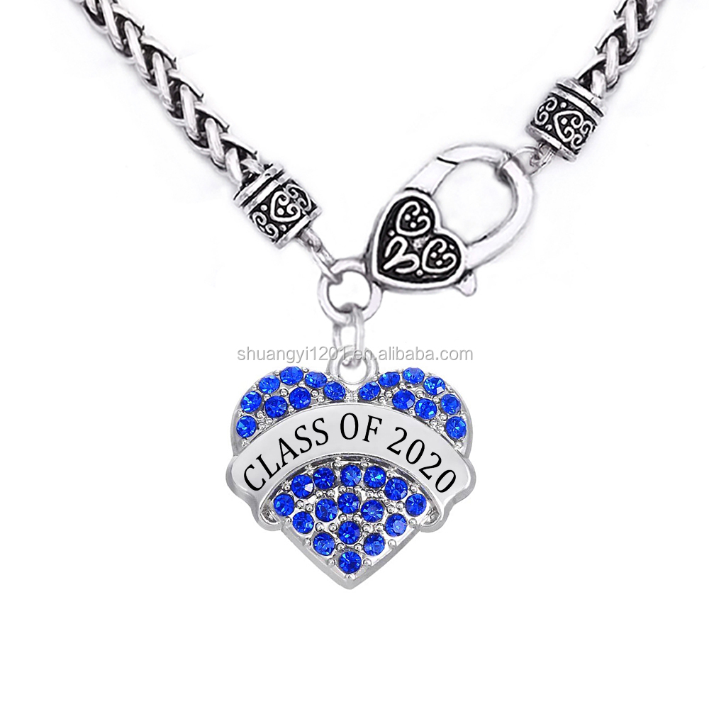 Class Of 2020 Crystal Hearts Name Charms Necklace Graduation Student Gift Jewelry
