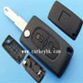 Keyless Entry Remote Fob remote controller cover Peugeot 2 button flip key casing with 206 blade and battery holder(CE0536)