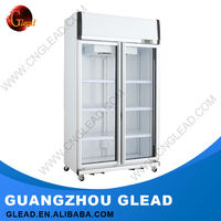 Commercial double door vegetable display refrigerator