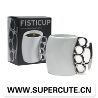 Creative product ceramic black cup with sliver handle fisti beer mug