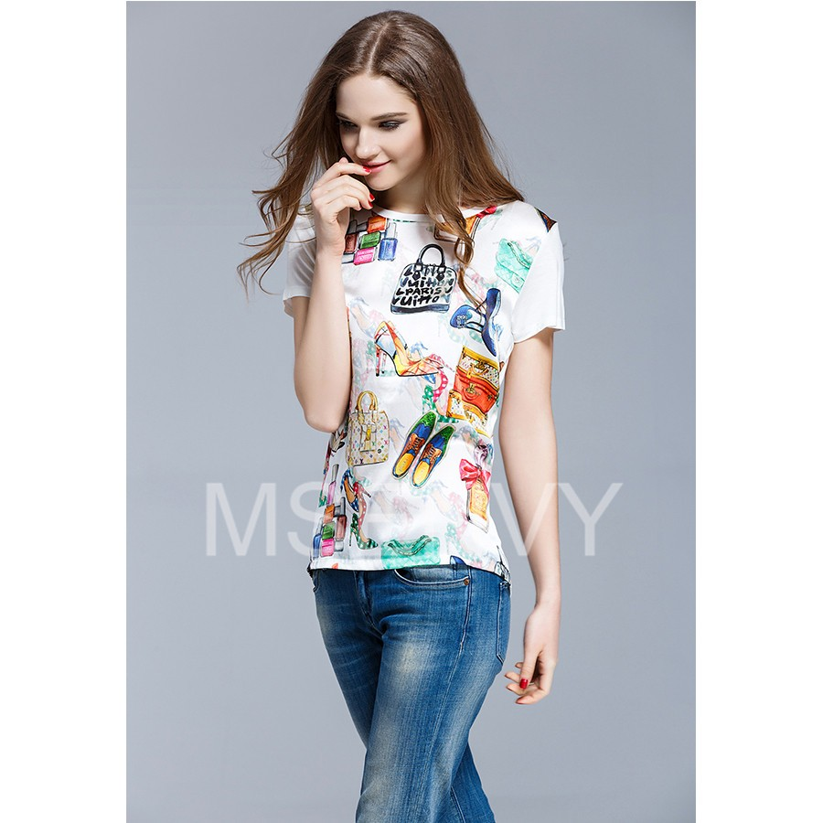 floral digital printed Silk crepe de chine Top