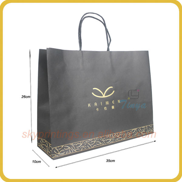 kraft black thin paper bags packaging with logo printing for promotion