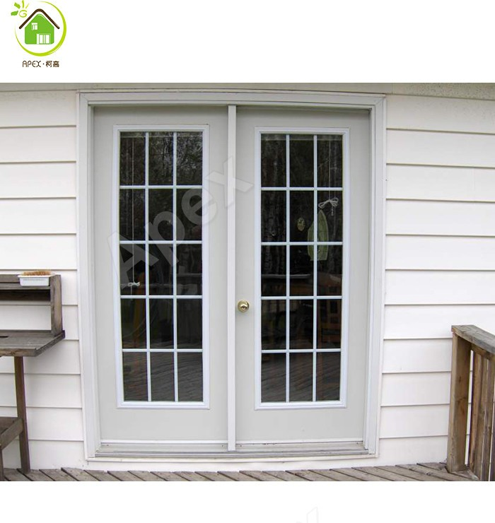 Solid wood door french doors with grills buy solid wood for Solid french doors exterior