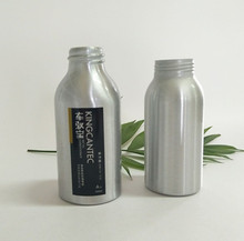 black and silver aluminum bottles with screw mouth and screw lid
