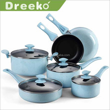 10piece Aluminum nonstick enamel blue speckle marble coating cookware set