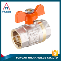 brass ball valve with new design butterfly handle full port two way motorized valve with ISO cetificate