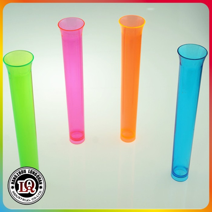 Alibaba hot sale disposable colored plastic ps long test tube cup for drink