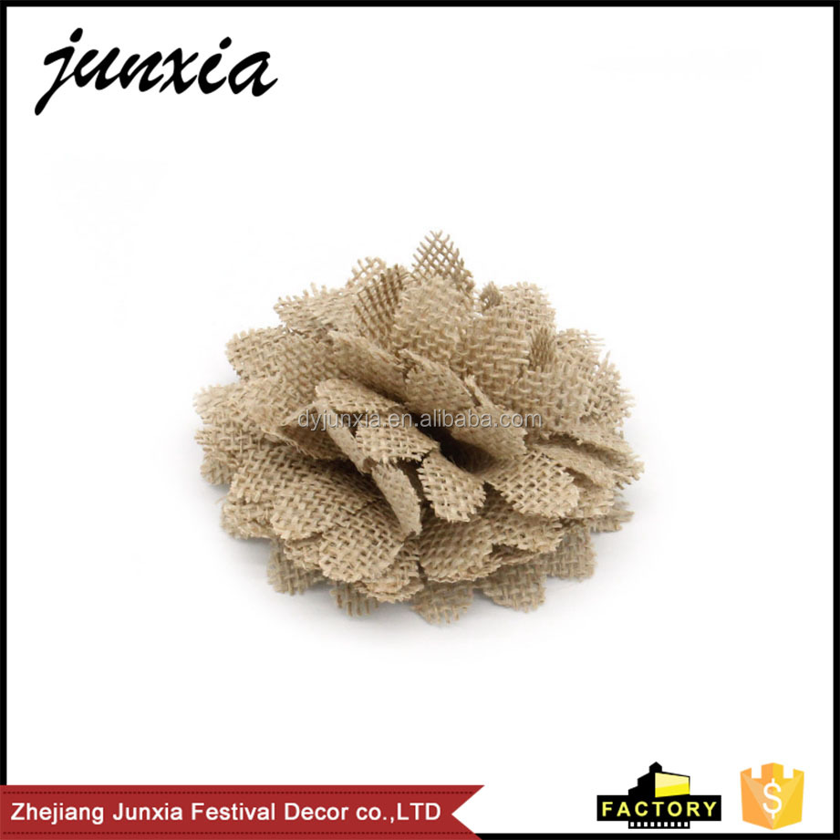 Junxia Natural Hessian Burlap Flowers Chrysanthemum Rustic Wedding Party <strong>Decoration</strong>