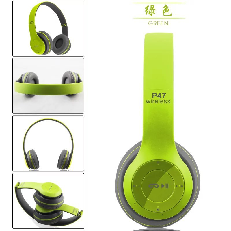 P47 Wireless Bluetooth 4.1 Headphones with Mic Hands free Stereo Bass music Headset Supports SD/TF Card Mp3 mode FM Radio
