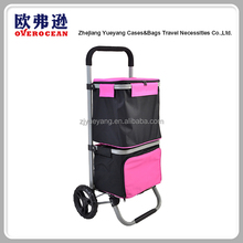 YY1604-3 Wholesale factory supplier insulated cart folding shopping trolley with cooler bag