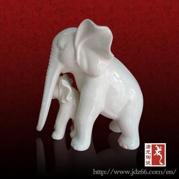 Fine Glazed White Ceramic Elephant Figurine From