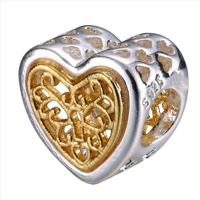 WYBEADS Unique Silver Beads Gold Hearts Crown European Charms Bead Fit Pandora Style Bracelet Bangle DIY Original Jewelry Making