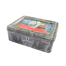 Food grade wholesale metal packaging square black tea/cookies tin box with PVC window lid