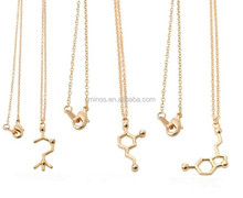 14k Gold Plated Acetylcholine Molecular Pendant Necklace