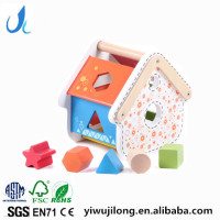 wooden house shape soter box geometric shape matching box educational toys for kids