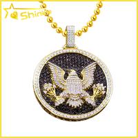 Pendant Mens Charm 14K Yellow Gold Diamond hip hop custom made pendant