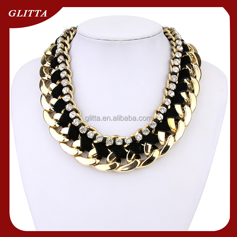 Necklaces jewelry 2015 Glitta new Pure handmade dubai gold necklace with bling crystal,Statement Necklace GL201514