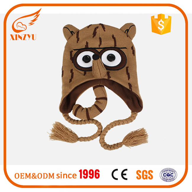 Wholesale knitting children funny winter hats earflap handmade knitted hat