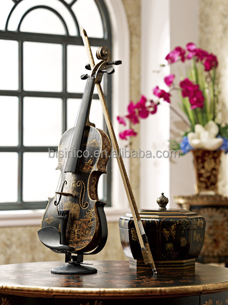 Elegant Hand Painted Decorative Violin, Vintage Wood Carved Art Musical Instrument, Home Decorative Art & Craft