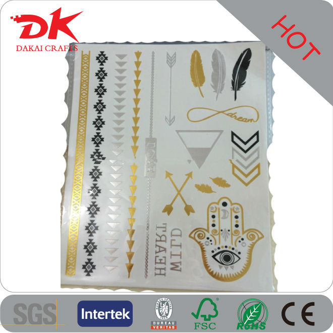 Factory making Cheap fake gold flash tattoo wholesale