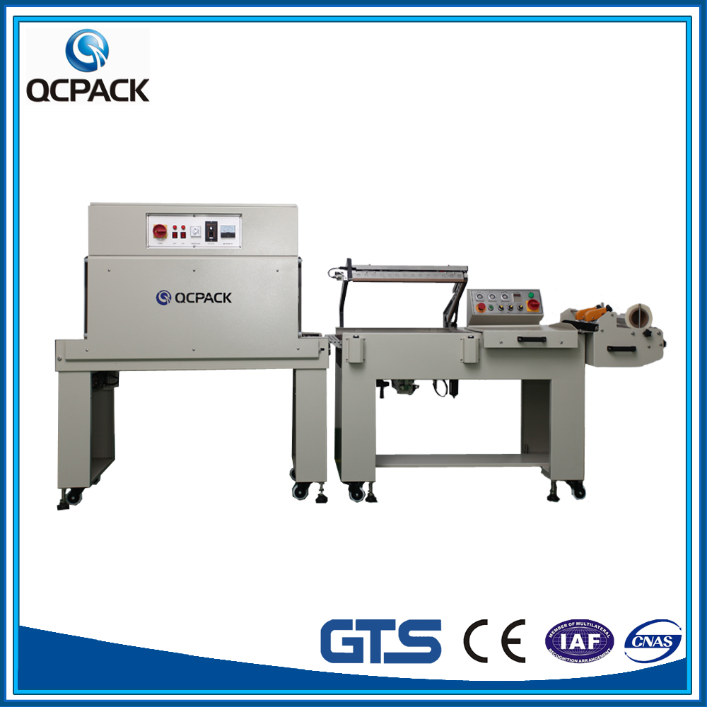 Trade assurance shrink film over-wrapping machine price with constant temperature shrink tunnel