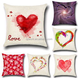 Wholesale custom heart printed linen cushion cover 45*45