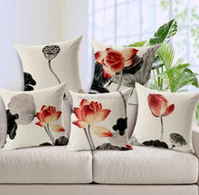 Ink Painting Lotus Rattan Sofa Cushion Covers