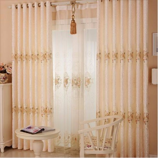 Jacquard curtains with matching decorative beads sheer