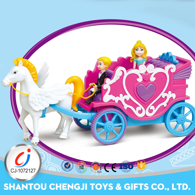 Fashion plastic electric rc B/O princess toy horse carriage