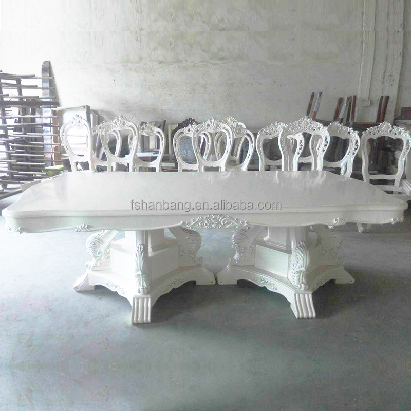 White Luxury European French Style 8 seat Dining Room Furniture 1 Table with 8 Chairs Set