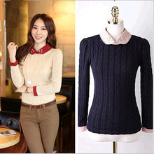 D84861H 2014 autumn korea new fashion design women sweater ,women pure color doll brought sweater