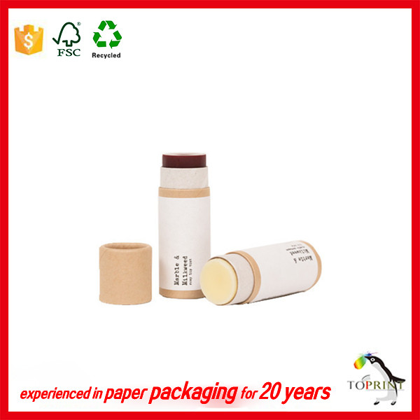 custom eco friendly cosmetic lip balm deodorant kraft paper tube packaging