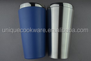16oz powder coated stainless steel double wall vacuum pint