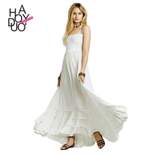 HAODUOYI Solid White Women Clothing Sexy Backless Maxi Halter Ladies Vestido Lace Up Pleated Female Summer Dresses for Wholesale
