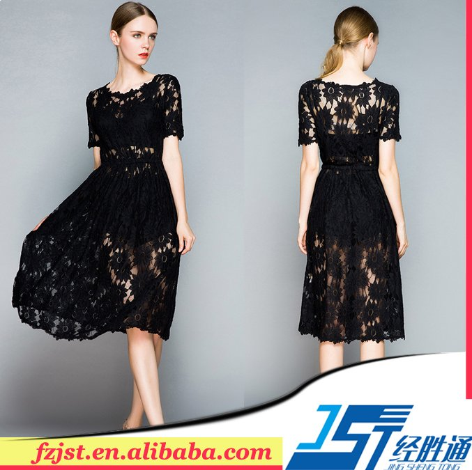 2015 Latest elegant long lace evening casual dress woman
