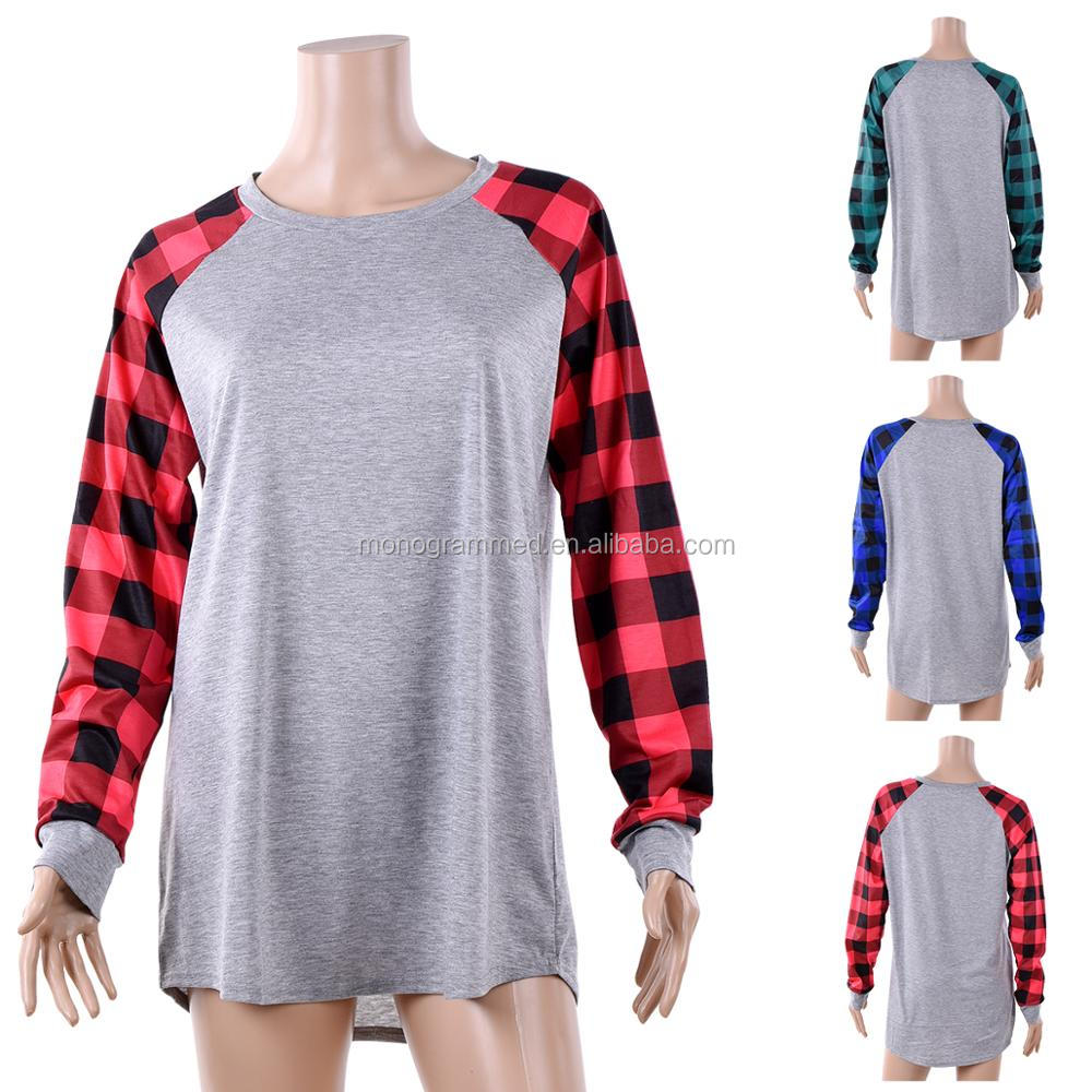 Monogrammed Women Plaid Raglan Shirts