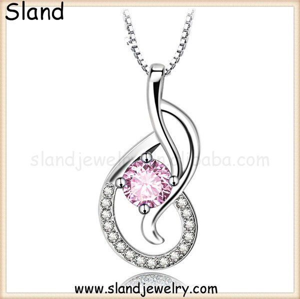 china suppier 100pcs MOQ sterling silver cz layered necklaces - inlaying Amethyst 925 silver pendant necklace wholesale