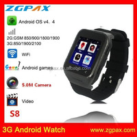 Newest 3G android smart watch phone with system 4.4 and bluetooth 4.0 and 5.0 camera WIFI Touch screen S8 ZGPAX