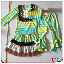 Organic Casual Stripe Top And Skirt Matching Triple Ruffle Pant Baby Winter Fashion Clothes