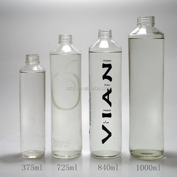 mineral water glass bottle with plastic cap