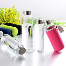 Glass Water Bottle - Premium 18 ounce Leak-Proof Glass Bottle with Neoprene Insulating Sleeve & Stainless Steel Cap.