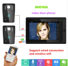 2017 New 7 inch apartment color Video Door Phone Intercom support wired connection and wireless wifi router