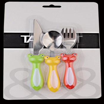 Plastic handle international flatware stainless steel hanging flatware with blister card packing