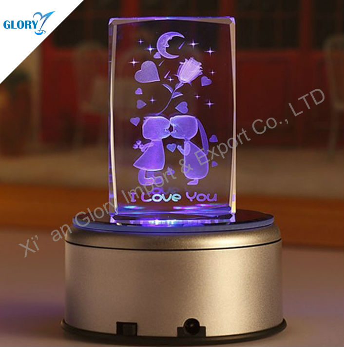 Best Quality Crystal Engraving Cube Music Box Used For The Gift Of Couples