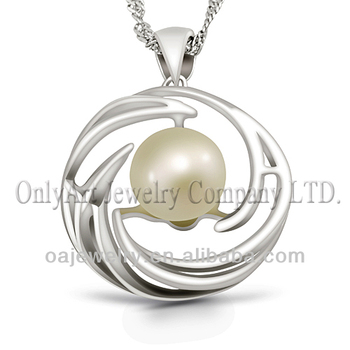 round nature freshwater pearl 925 silver pendant necklace