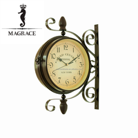 Wholesale European Style black and whhite double sides antique wrough iron material 8inch dial wall clock